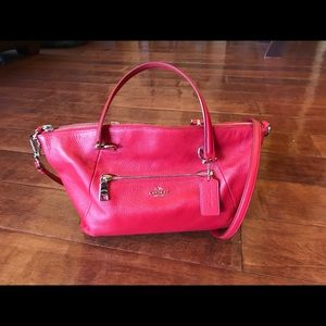 Coach Kelsey Pebble Red Leather Satchel